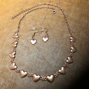 Copper Heart Necklace and Earrings